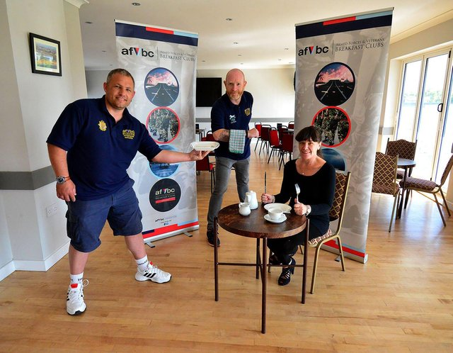 """Hartlepool Armed Services and Veterans Breakfast Club members (left to right) Rob """"Stitch"""" Taylor, Spencer Glasgow and Lisa Alexander in Hornby Park the new venue for the club. Picture by FRANK REID"""