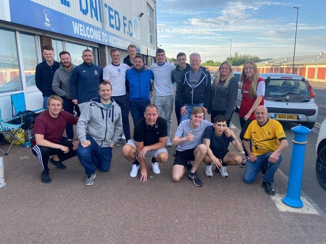Fans who spent the night in the queue for Hartlepool United play-off final tickets. Pictures by Frank Reid.