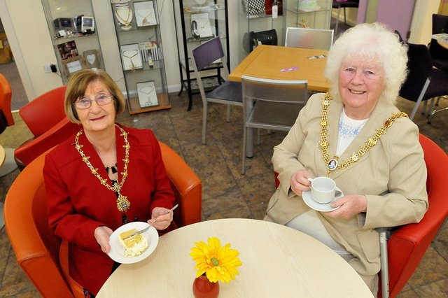 The Mayor of Hartlepool Mary Fleet (right) along with the Mayoress Shelia Grifin enjoy their tea and cake during the International Women's day event held at Brougham Enterprise Centre in 2016.