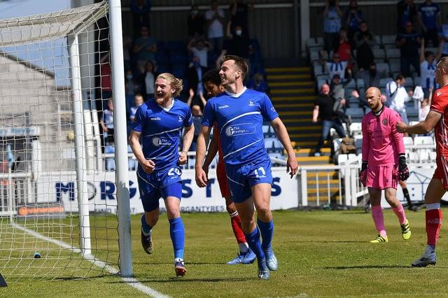 Rhys Oates celebrates the opening goal for Hartlepool United.