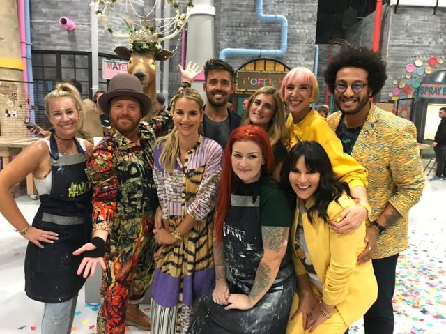 The Fantastical Factory of Curious Craft, hosted by Keith Lemon, in the hat, but without antlers, also starred Peterlee teacher Rochelle Charlton-Lainé, back row, third from right. Also pictured are TV personalities Vogue Williams, to the right of Keith Lemon, and Spencer Matthews, back, to the left of Rochelle.