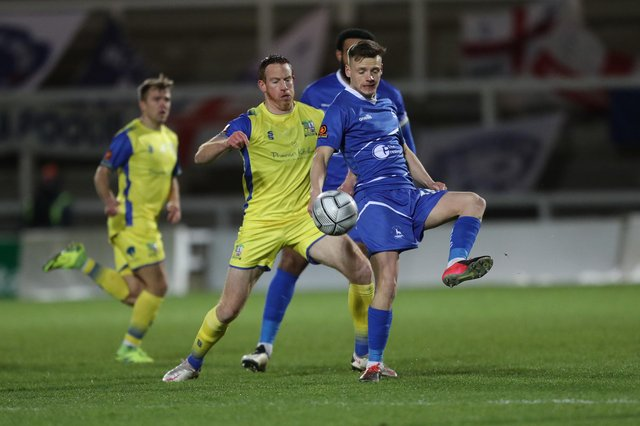 Tom White of Hartlepool United in action  during the Vanarama National League match between Hartlepool United and Solihull Moors at Victoria Park, Hartlepool on Tuesday 9th February 2021. (Credit: Mark Fletcher | MI News)