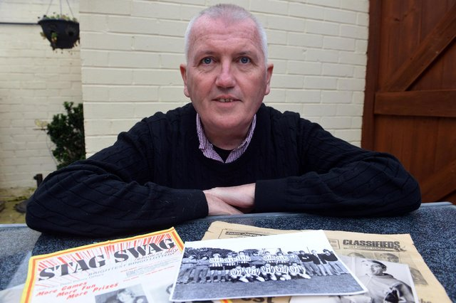 Dave Sutheran with documents and photos he is using as part of his research for a new book about Hartlepool United's former intermediates teams