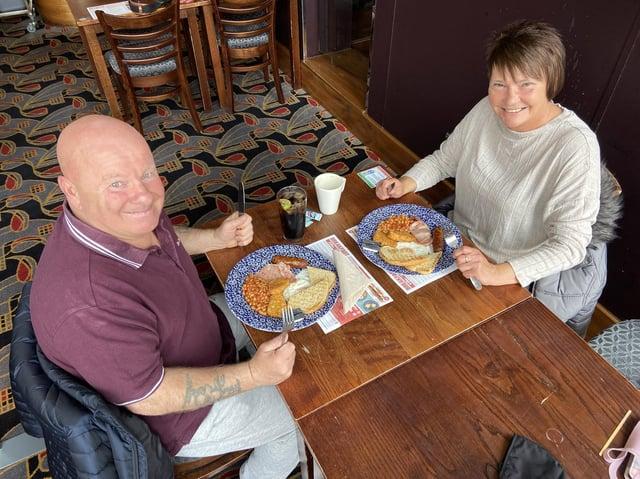 Tony ands Joanne Ingledew enjoy a JD Wetherspoon breakfast in the Ward Jackson pub, in Church Square, Hartlepool.
