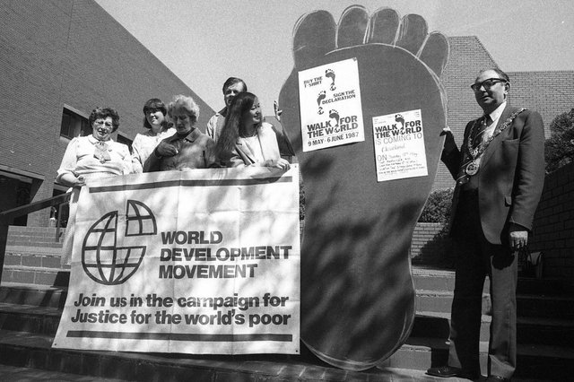 Hartlepool Mayor Bob Barnfather was showing his support for a 'Walk for the World' event on the Civic Centre steps in 1987.