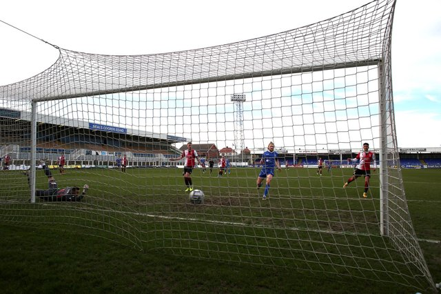 Rhys Oates of Hartlepool United puts his side 1-0 up during the Vanarama National League match between Hartlepool United and Woking at Victoria Park, Hartlepool on Saturday 20th March 2021. (Credit: Chris Booth | MI News)