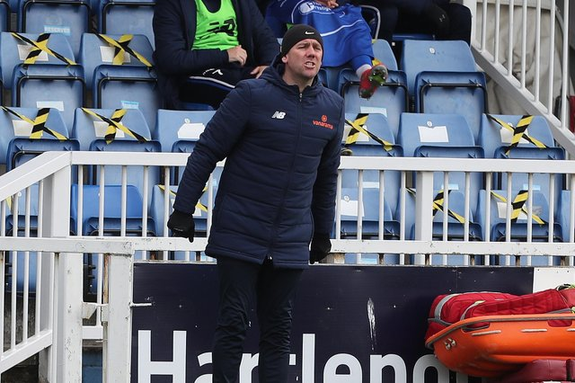 Hartlepool manager, Dave Challinor  during the Vanarama National League match between Hartlepool United and Dagenham and Redbridge at Victoria Park, Hartlepool on Friday 2nd April 2021. (Credit: Mark Fletcher | MI News)