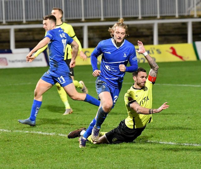 Luke Armstrong celebrates scoring against Stockport County in the 4-0 win back in December.