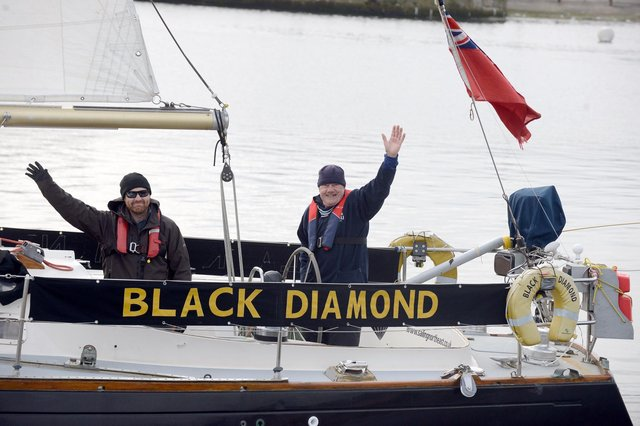 Hartlepool tall ship Black Diamond of Durham performing a sail by in Hartlepool to mark the Tall Ships Races coming to town in the summer of 2023.