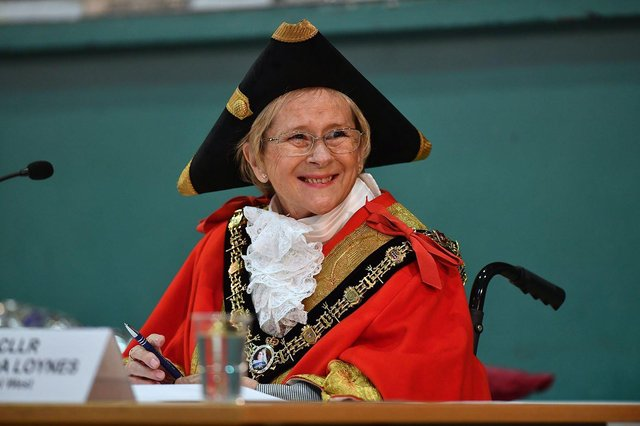 The Mayor of Hartlepool, Cllr Brenda Loynes, who represents the Rural West ward, attending the Hartlepool Borough Council meeting in the Borough Hall. Picture by FRANK REID