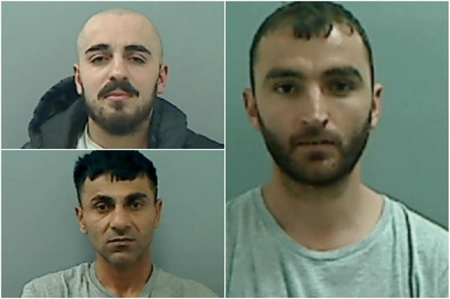 Jailed for 53 years: Top left Qazim Marku, Noza Saffari (below) and Dorian Pirija (right).