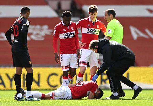 Sam Morsy of Middlesbrough receives medical treatment.