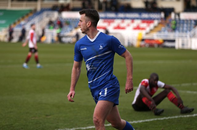 Rhys Oates of Hartlepool United celebrates after putting his side 1-0 up during the Vanarama National League match between Hartlepool United and Woking at Victoria Park, Hartlepool on Saturday 20th March 2021. (Credit: Chris Booth   MI News)
