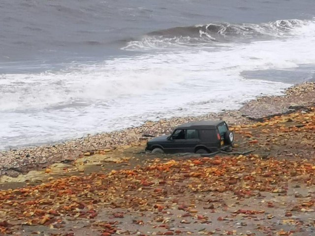 The 4x4 became stuck in September 2019. Picture by Hartlepool Coastguard
