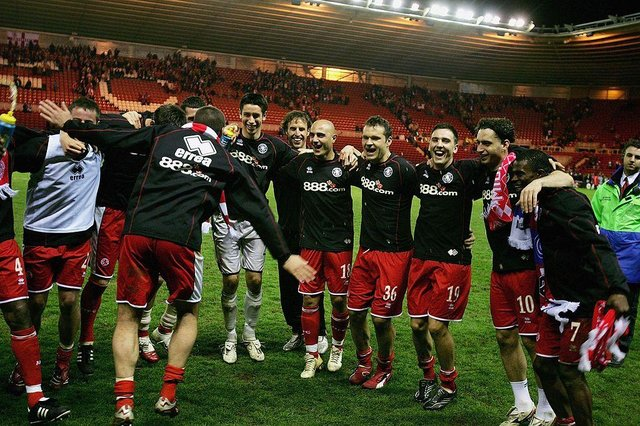 The Middlesbrough players celebrate their victory in the UEFA Cup Semi Final, second leg match between Middlesbrough and Steaua Bucharest at the Riverside Stadium.