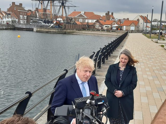 Prime Minister Boris Johnson is in Hartlepool where he has met with the town's new Conservative MP Jill Mortimer.