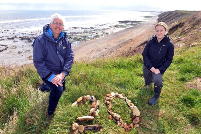 Heritage Coast Officer Niall Benson with Newcastle University Marine Biology student Darcie Rawlings at Blackhall Rocks Cross Gill Nature Reserve.
