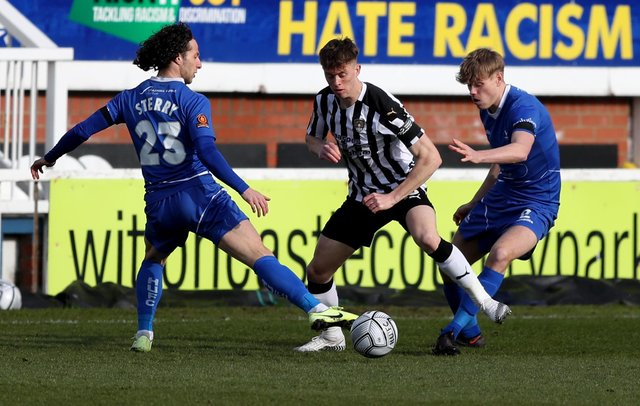 Jamie Sterry and Lewis Cass of Hartlepool United and Jimmy Knowles of Notts County during the Vanarama National League match between Hartlepool United and Notts County at Victoria Park, Hartlepool on Saturday 10th April 2021. (Credit: Chris Booth | MI News)