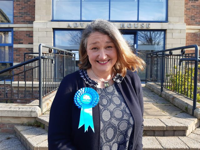Jill Mortimer pictured just minutes after becoming Hartlepool's first female MP and the town's first Conservative MP for 57 years,.