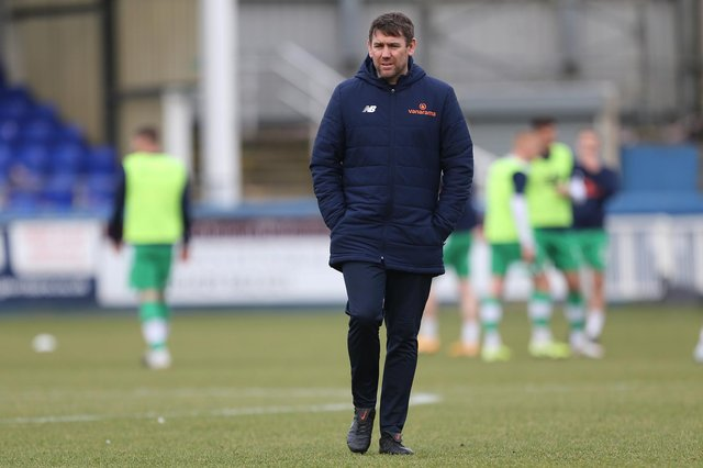 Hartlepool manager, Dave Challinor before the Vanarama National League match between Hartlepool United and Yeovil Town at Victoria Park, Hartlepool on Saturday 20th February 2021. (Credit: Mark Fletcher | MI News)
