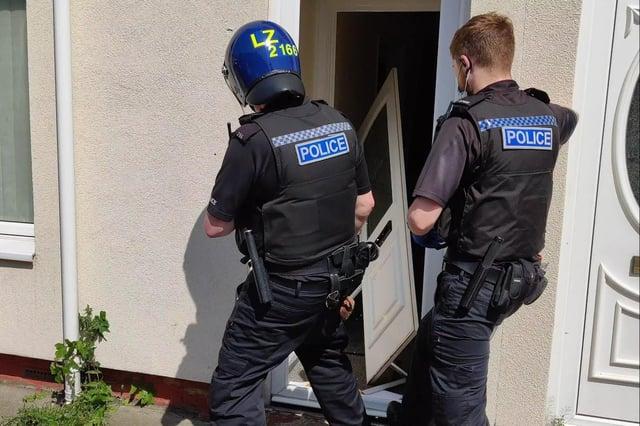Police put in the front door during one of the drug warrants.