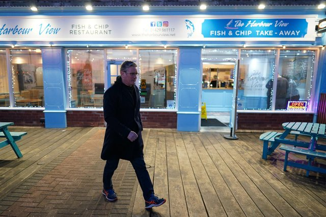 Labour Party leader Sir Kier Starmer visits a chip shop in Hartlepool Marina on April 22, 2021 in Hartlepool, England. His party is now picking up the pieces after a bad set of election results for Labour (Photo by Ian Forsyth/Getty Images)