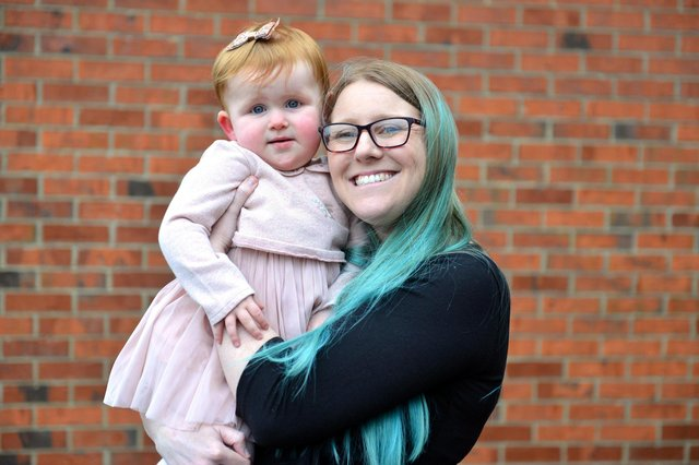 Rebecca Porritt with daughter Ava, one, who was born months after Prince Harry and Meghan's child, Archie, in 2019.