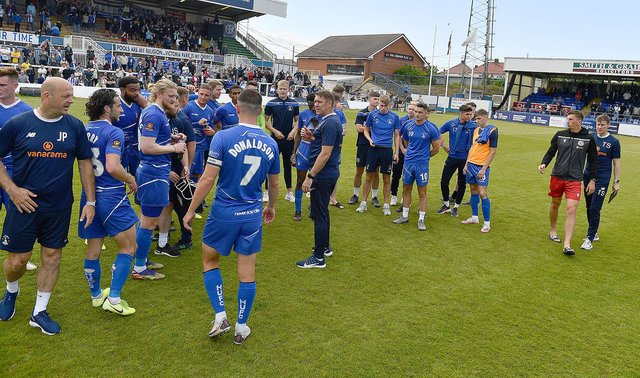 Dave Challinor speaking to the players at the end Hartlepool United's 3-2 win over Bromley in the National League play-off eliminator (photo: Frank Reid)
