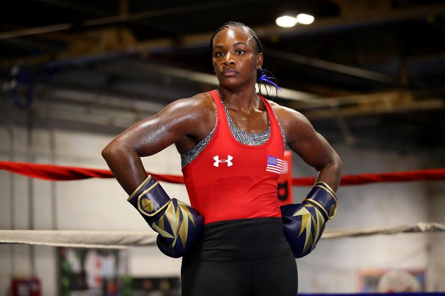 Claressa Shields works out during a pre-fight media workout at the Downtown Boxing Gym on October 02, 2019 in Detroit, Michigan.