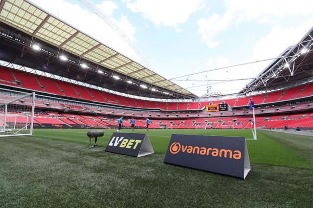 General view inside the stadium ahead of the Vanarama National League Play Off Final match between Harrogate Town and Notts County at Wembley Stadium on August 02, 2020 in London, England. (Photo by Catherine Ivill/Getty Images)