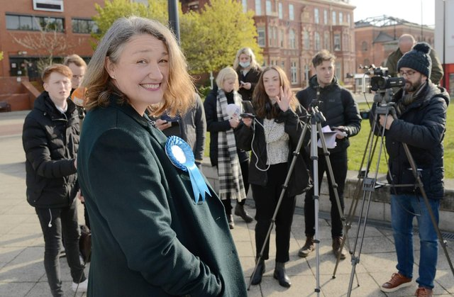 Newly elected Conservative MP for Hartlepool Jill Mortimer speaks to the media following her victory in the Hartlepool by-election this morning.