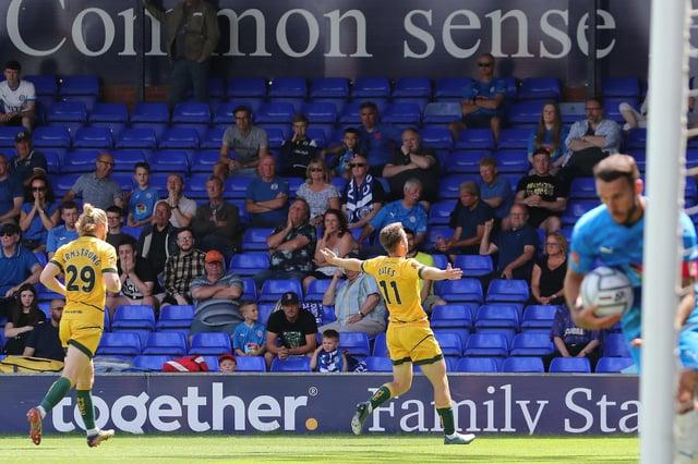 Rhys Oates celebrates scoring the winning goal.