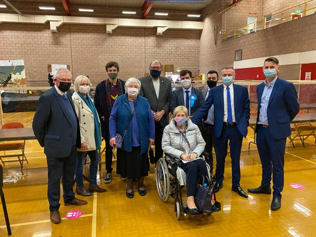 Conservative councillors and supporters after winning the most seats on Hartlepool Borough Council following Thursday's elections.