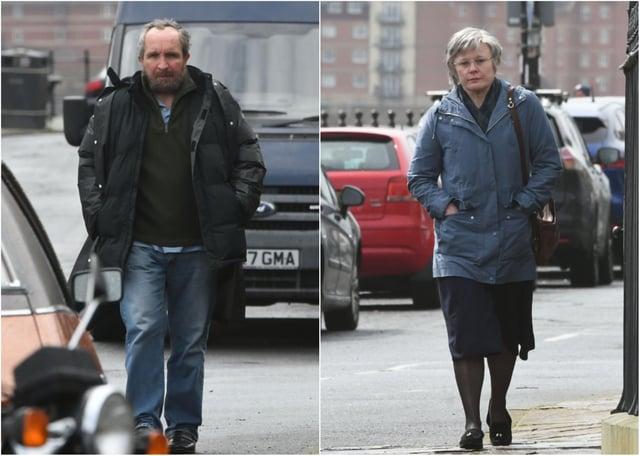 Eddie Marsan, left, and Monica Dolan on location in Hartlepool as John and Anne Darwin.