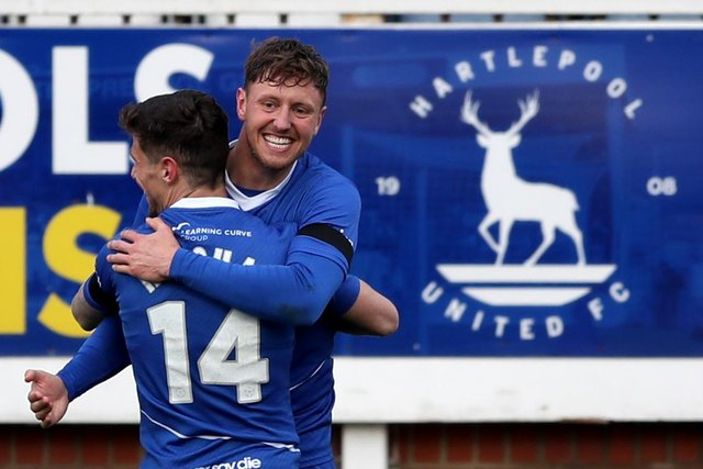 Richie Bennett of Hartlepool United  celebrates after putting his side 2-0 up during the Vanarama National League match between Hartlepool United and Notts County at Victoria Park, Hartlepool on Saturday 10th April 2021. (Credit: Chris Booth | MI News)