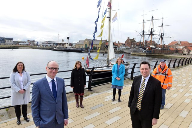 Hartlepool has been selected to host the world famous Tall Ships again in the summer 0f 2023. Front from left Coun Shane Moore, Leader of Hartlepool Borough Council and Ben Houchen, Tees Valley Mayor. Back from left Clare Duncan, Operations Manager of the National Museum of the Royal Navy; Denise McGuckin, Hartlepool Borough Council Managing Director, Gemma Ptak, Hartlepool Borough Council Assistant Director; and Allan Henderson, Director of Hartlepool Marina Ltd.