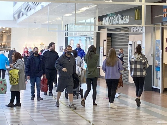 Shoppers in the Middleton Grange shopping centre. Picture by Frank Reid