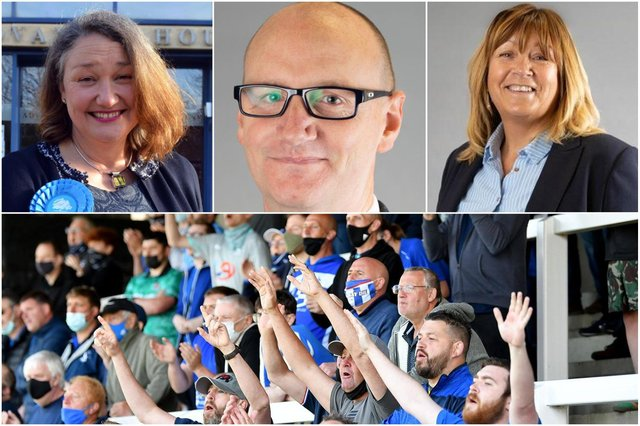 Hartlepool MP Jill Mortimer, (left) council leader Shane Moore and managing director Denise McGuckin have sent good luck messages to Hartlepool United for Sunday's play-off final.