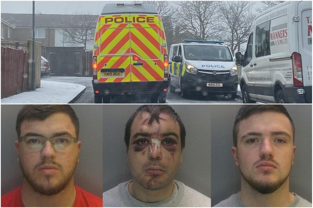 Brothers, from left to right, Jason Smith, Sean Riley and Ethan Smith, have been jailed for the attack in Dodds Close, in Wheatley Hill, on New Year's Day.