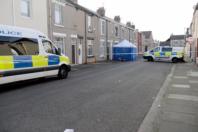 Police in Charterhouse Street, Hartlepool two days after Mr Hussain's murder. Picture by FRANK REID.