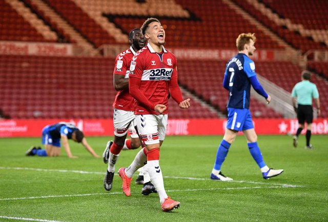Marcus Tavernier of Middlesbrough celebrates after scoring his side's second goal against Preston.