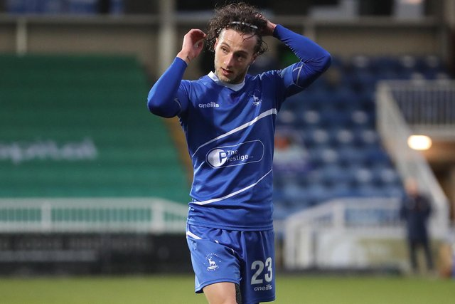 Jamie Sterry of Hartlepool United  during the Vanarama National League match between Hartlepool United and Barnet at Victoria Park, Hartlepool on Saturday 27th February 2021. (Credit: Mark Fletcher   MI News)