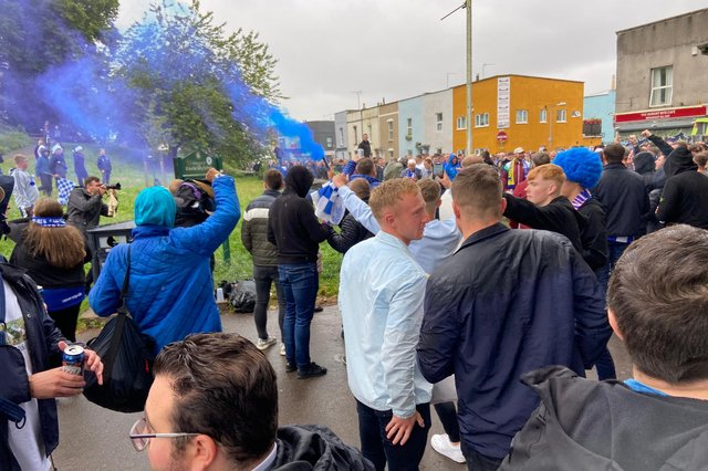 Hartlepool United fans outside the ground.
