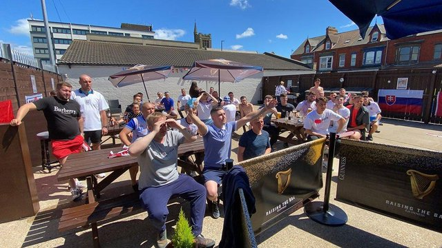 Hartlepool United fans at The Park Inn last Sunday while watching the club's semi-final play-off victory over Stockport County.