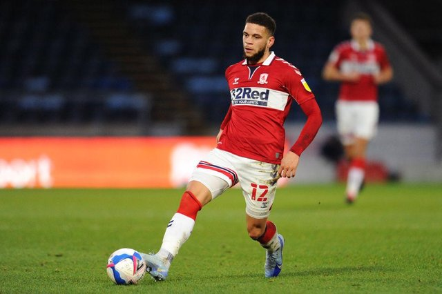 Marcus Browne playing for Middlesbrough.