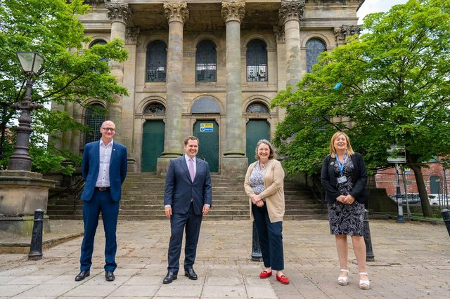 From left, council leader Shane Moore, Government minister Robert Jenrick, town MP Jill Mortimer and council managing director Denise McGuckin.
