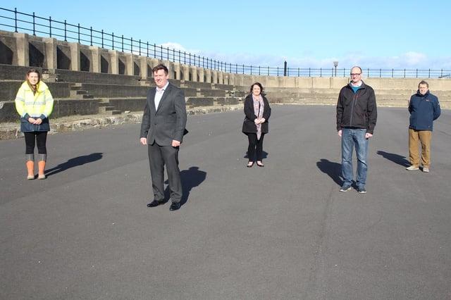 Left to right: Seymour Civil Engineering Site Manager Sarah Jopling, Seymour Civil Engineering managing director Adam Harker, Councillor Barbara Ward, leader of Hartlepool Borough Council Councillor Shane Moore and Councillor Tim Fleming.