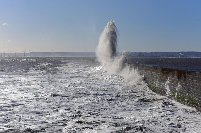 Stormy seas at the Heugh Breakwater, Hartlepool, earlier this morning.