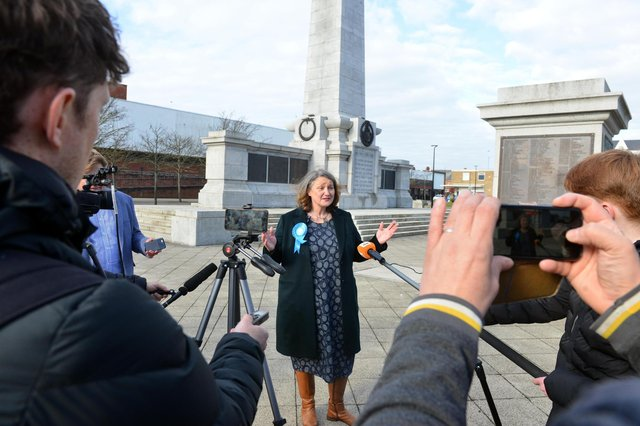 Jill Mortimer, Hartlepool's newly elected Conservative MP, speaking to reporters this morning.