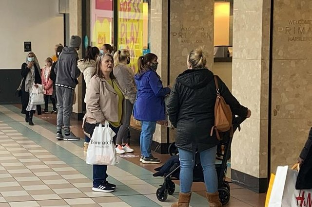 """Queues outside Primark, in Middleton Grange Shopping Centre, in Hartlepool, on the day """"non-essential"""" shops reopened."""